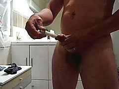 vibro full fuck inside cock in shower