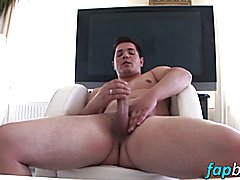 Playful hot stud David Cain loves wanking his meaty dick