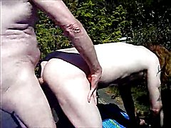 Young Redhead Bareback With Old Man