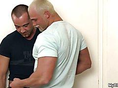 Two brutal gay hunks secretly fucking