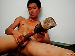 Big starts off his kinky solo jack off in the shower,