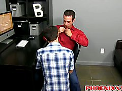 Hunk Mr. Manchester fucking twink hole all over his office