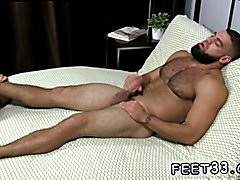 Gay leg and thigh fetish Ricky Larkin Shoots His Load As I Worship His Feet