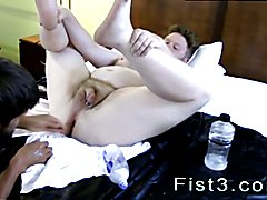 Sucking dick while fisting male gay Sky Works Brock's Hole with his Fist