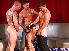 Facialized jock in group anally pounded before cum