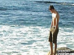 Cute Beach Loving Dude Masturbates Penis