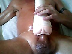 Big cum shot with oil and my fleshlight