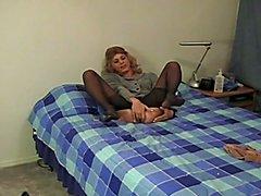 Crossdresser pantyhose tease