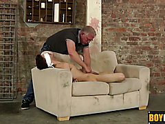Bound twink slave on a dirty couch gets wanked by Sebastian  scene 2