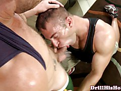 Beefy jock getting throat slammed