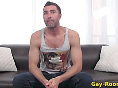 Muscled casting hunk pounded hard