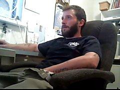 Str8 daddy stroke in his office