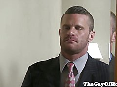 Muscular studs in suits love anal party in hotel room