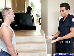 Fireman jock blows load over tight hunk after pounding
