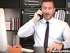 Muscular boss rims and fucks hunk in office