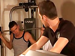 Two french straight guys in the fitness room