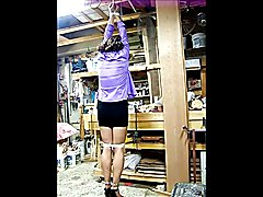 Tied and gagged in a hot (95 degrees) woodworking shop.