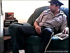 Police officer Zack stops by to blow a load, before