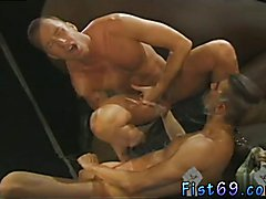 Gay latino men fisting Club Inferno's own Uber-bottom, Rick West opens the activity with