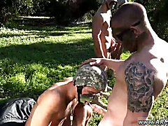 Story of black army soldiers fucking gay asshole Taking the recruits on their first run