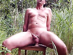 German outdoor anal dildo fuck