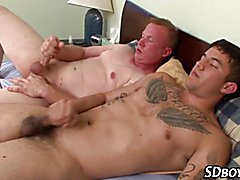 Gay stud gets pounded bareback and cums masturbating