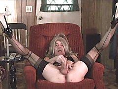 Spread wide, legs up Slut juices her big dick. Repost