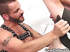 Mature bear barebacking leather bottom after bj and