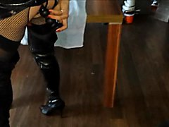 Video of me, Gloria, dressed in Fishnets, PVC, leather