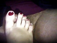 Foot rubbing cock