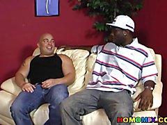 Chubby bald guy does decent deepthroat on a black cock