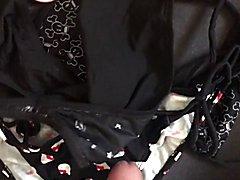 Wearing bikini cuming on hello kitty bikini