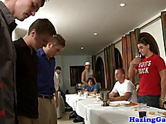 Straight pledges anally punished at frat dinner party