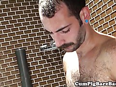 Otter barebacking and jizzing partner under the shower