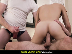 FamilyDick Sloppy old man and buddy fuck petite son in costum