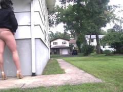 Crossdresser CROSSDRESSER Strutting Outdoor Daytime Caught