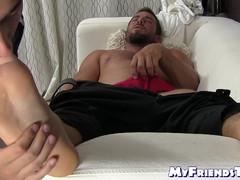 Teen gay freak worships strong guys feet way too much