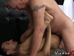 Good looking gay anal fucked and semen sprayed by old dude