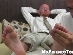 Redhead freak facialized by BBC while blowing toes