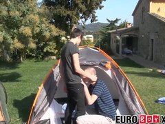 Nice couple blowing and raw hammering outside in a tent