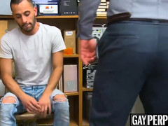 Teenage perp bent over for bareback hammering by officer Maledom