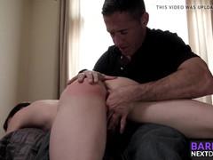 Mature man hammering his girlfriends son