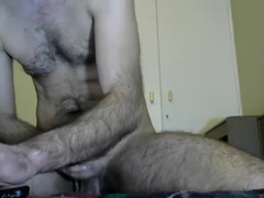 Haired, huge-penis dude wanking off