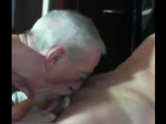 Old Man suck on webcam