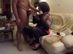 Pervert slut is having a smoke break and suck a ebony