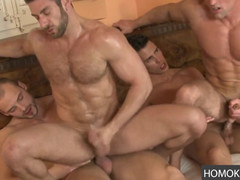 Foursome gay fuck fest with plenty of action
