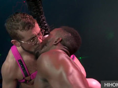 Strip club plowing, an gorgeous gay threesome