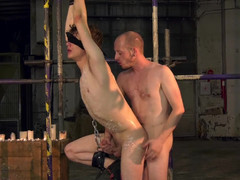 Blindfolded twink banged hard by dominant male master
