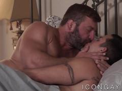 Mature bear ass fucks his young tattooed jock lover