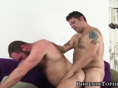 Inked bear has hairy arsehole rammed with multiple cocks